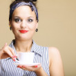 Hot beverage. Woman holding tea or coffee cup — Stock Photo #32365193