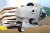 Construction tool angle grinder for cutting tile — Stock Photo