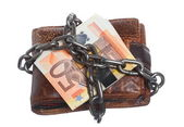 End of personal spending. Wallet euro banknote in chain — Stock Photo
