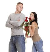 Relationship difficulties young couple in conflict isolated — Stock Photo