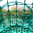 Stock Photo: Knot rope netting green safety net blurred background