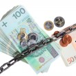 Polish and euro currency with chain for security investment — Stock Photo