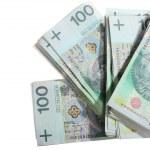Money and savings. Stack of 100's polish zloty banknotes — Stock Photo