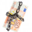 Euro currency with chain for security and investment — Stock Photo