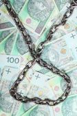 Polish money as background chain for security investment — Stock Photo