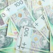 100's polish zloty banknotes as money background — Stock Photo