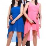 Man detective secret agent criminal with two women gun — Stock Photo #33018057