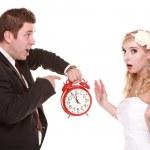 Wedding couple quarreling conflict bad relationships — Stock Photo