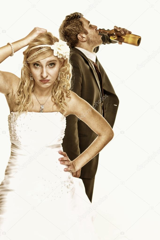 Wedding couple, unhappy bride with alcoholic groom � Stock Photo ...