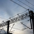 图库照片: Railroad overhead lines. Contact wire.