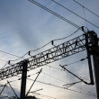 Foto de Stock  : Railroad overhead lines. Contact wire.