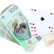 Gambling concept. Playing cards aces and money — Stock Photo