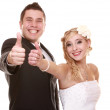Portrait of happy bride and groom on white background — Stock Photo #33308225