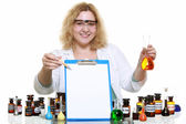 Chemist woman with glassware flask clipboard isolated — Stock Photo