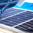 Solar panels in sailboat. Renewable eco energy — Stock Photo