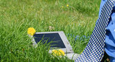 Bussinesman necktie and a laptop outside in a meadow — Стоковое фото