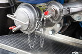 Details of new sewage truck equipment, industry valves — Stock Photo