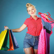 Girl with shopping bags retro style — Foto Stock
