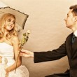 Romantic married couple bride groom on gray background — Stok fotoğraf #34280163