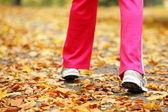 Läufer beine laufschuhe. frau joggen im herbst park — Stockfoto