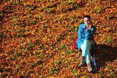Mladá žena v parkové podzimní deprese — Stock fotografie
