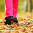 Runner legs running shoes. Woman jogging in autumn park — 图库照片