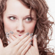 Surprised womface, girl covering her mouth over white — Stock Photo #34917875