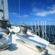 Sailboat yacht sailing in blue sea. Tourism — Stock Photo #35155099