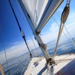 Stock Photo: Sailboat yacht sailing in blue sea. Tourism