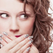 Surprised woman face, girl covering her mouth over white — Stockfoto