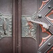 Decorative old wooden church door — Foto Stock
