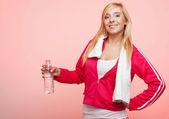 Fitness sport woman white towel on shoulders, studio shot — Foto de Stock