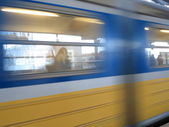 Motion blurred subway train — Stock Photo