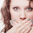 Surprised woman face, girl covering her mouth over white — Foto Stock