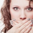 Surprised woman face, girl covering her mouth over white — Stock Photo