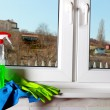 Tools for cleaning windows — Stock Photo