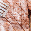 Closeup cake with powder sugar in tin and spatula — Stock Photo