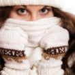 Woman in warm clothing winter fashion — Stock Photo