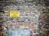 No entry sign in Poland on old brick wall — Stock Photo