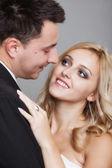 Zastřelil dva milenci ženich a nevěsta studio — Stock fotografie