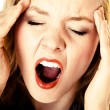 Business woman headache pain screaming shouting. Stress in work. — Stock Photo