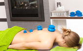 Beauty salon. Woman getting spa cupping glass vacuum massage — Stock Photo