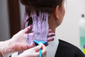 Hairdresser applying color female customer at salon, doing hair dye — ストック写真
