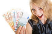 Rich happy business woman showing euro currency money banknotes — Stock Photo