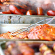 skewers shish kebab other meat on bbq — Stock Photo