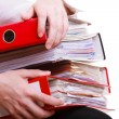 Female hands holding stack folders documents. Overworked business woman. — Stock Photo
