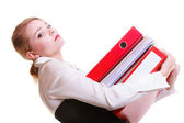 Young overworked business woman holding stack folders documents — Stok fotoğraf