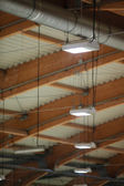 Group of lamps on sport stadium celling. Light power energy — Stock Photo