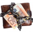 Stock Photo: End of personal spending. Wallet euro banknote in chain