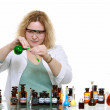 Stock Photo: Chemist woman with chemical glassware flask isolated
